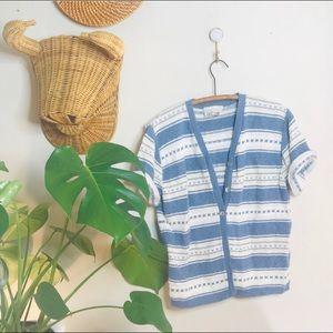 vtg vsco 90s ribbed striped short crop cardigan